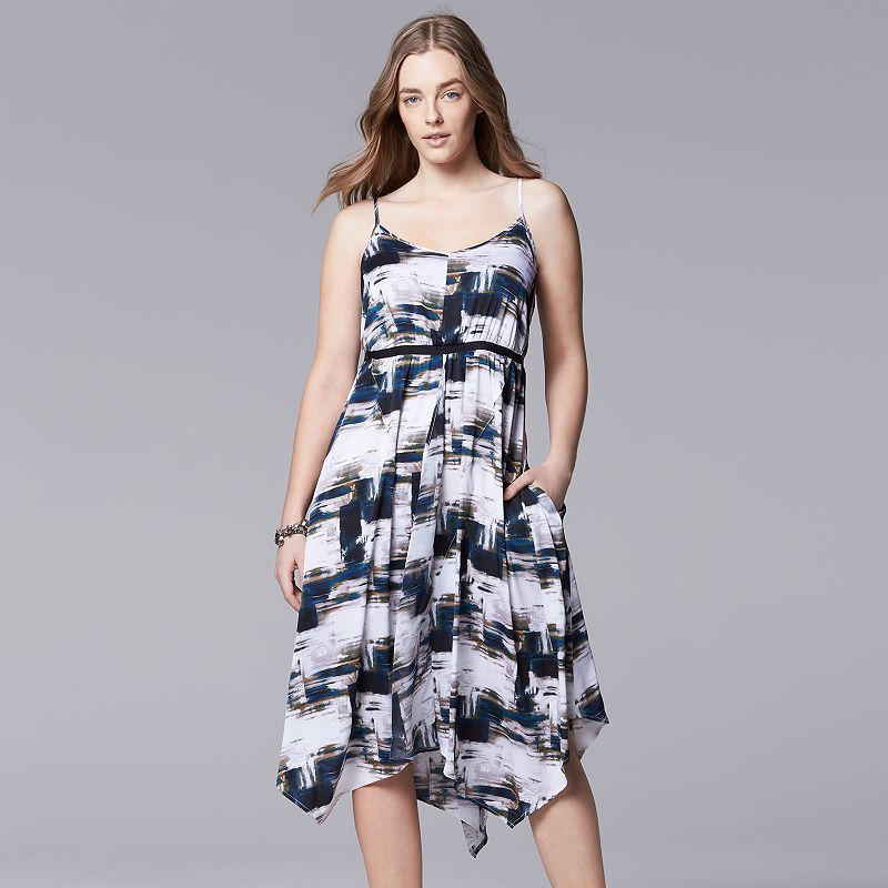 Plus Size Simply Vera Vera Wang Brushstroke-Striped Empire Dress