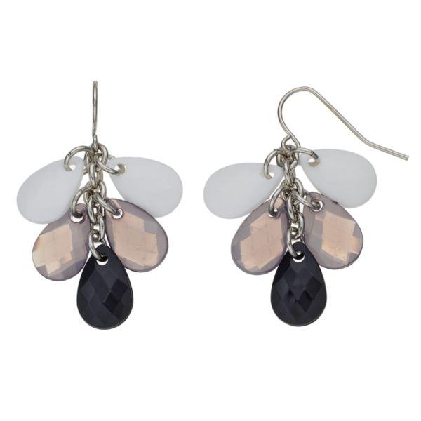 Beaded Teardrop Cluster Earrings