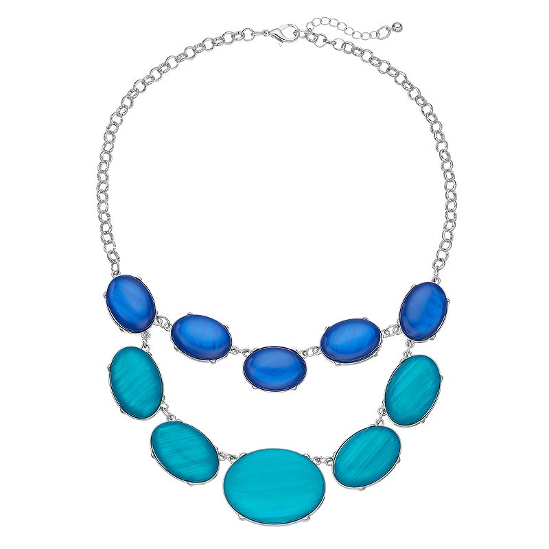 Blue Oval Cabochon Swag Necklace
