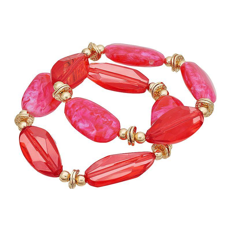 Pink Beaded Stretch Bracelet Set