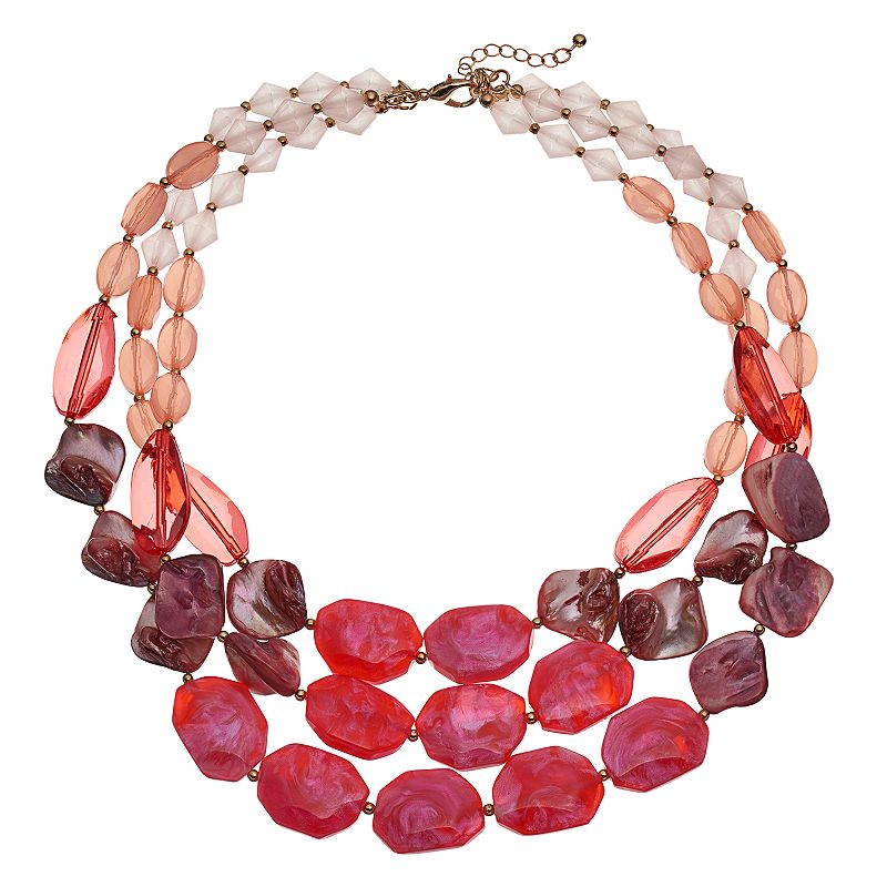 Composite Shell Beaded Multi Strand Necklace