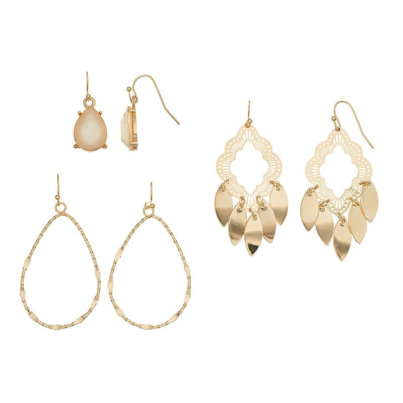 Mudd® Chandelier & Teardrop Earring Set