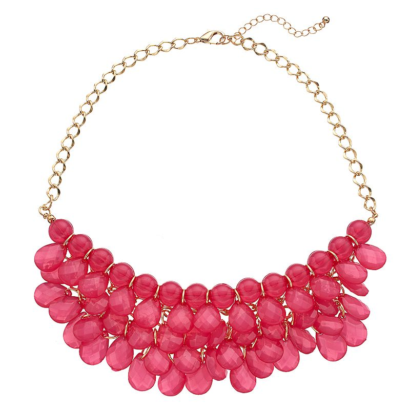Pink Tiered Beaded Teardrop Necklace