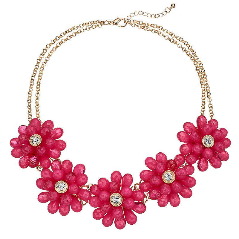 Pink Beaded Flower Multi Strand Necklace