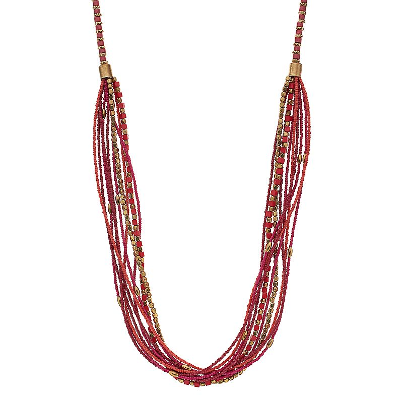 Pink Beaded Long Swag Necklace