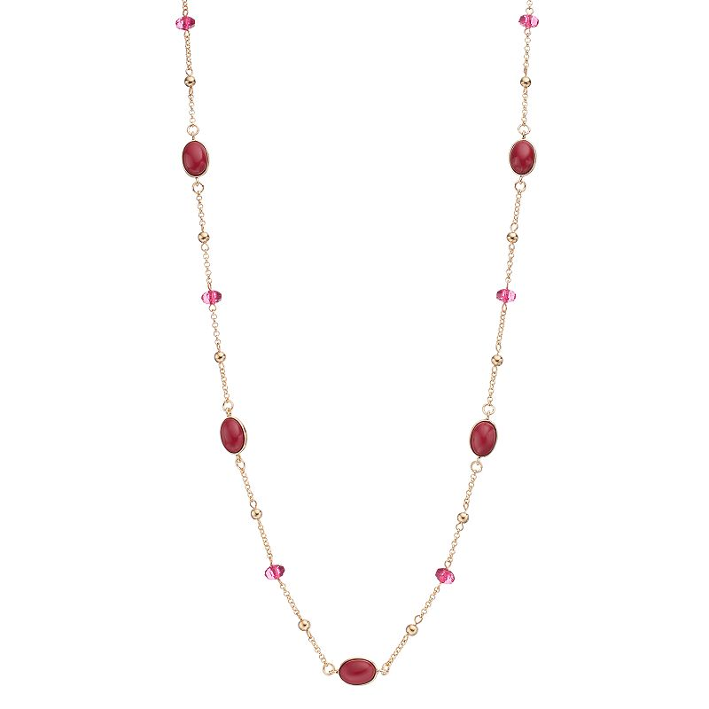 Long Beaded Cabochon Station Necklace
