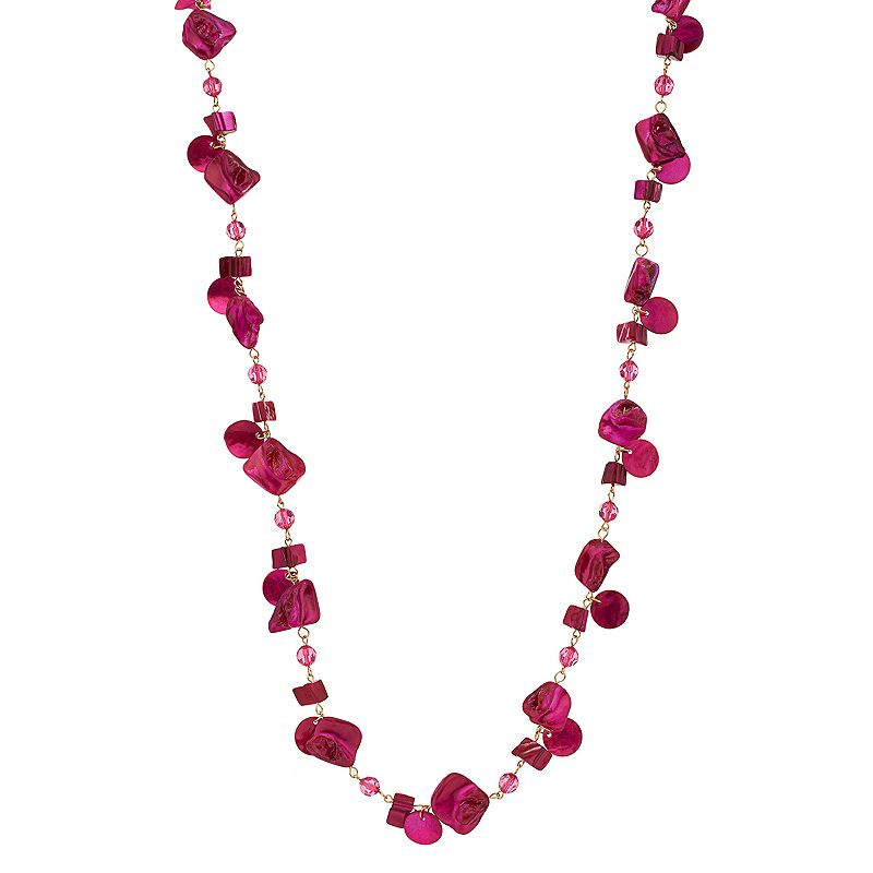 Pink Composite Shell Beaded Long Necklace