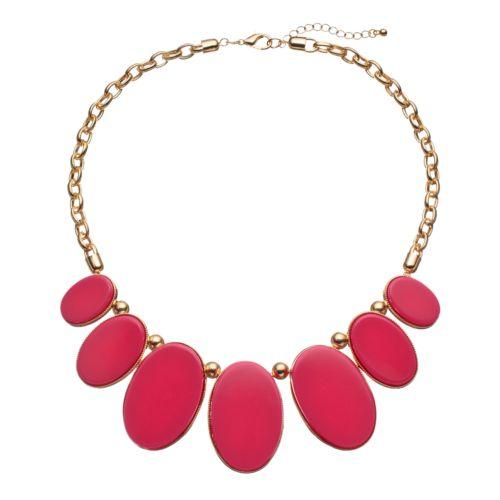 Pink Graduated Oval Bib Necklace
