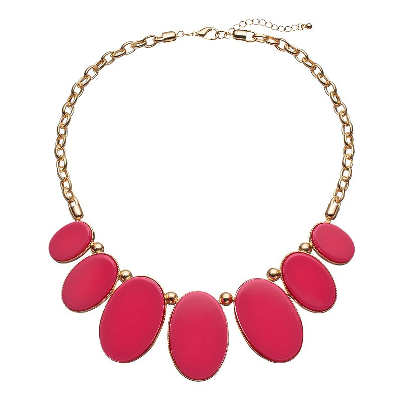 Pink Graduated Oval Bib Necklace