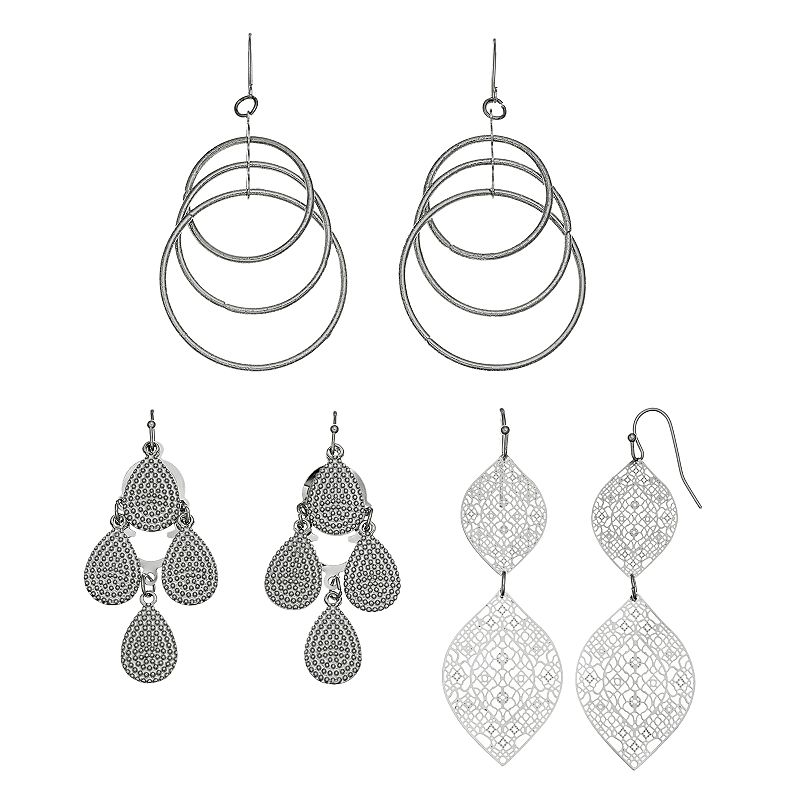 Mudd® Leaf, Kite & Hoop Drop Earring Set