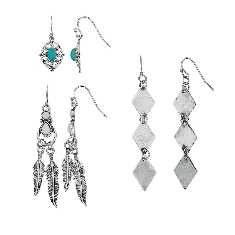 Mudd® Feather, Kite & Simulated Turquoise Drop Earring Set
