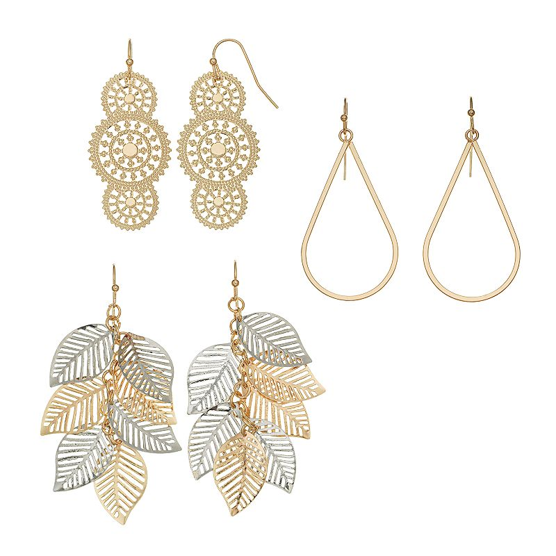 Mudd® Two Tone Leaf, Medallion & Teardrop Earring Set