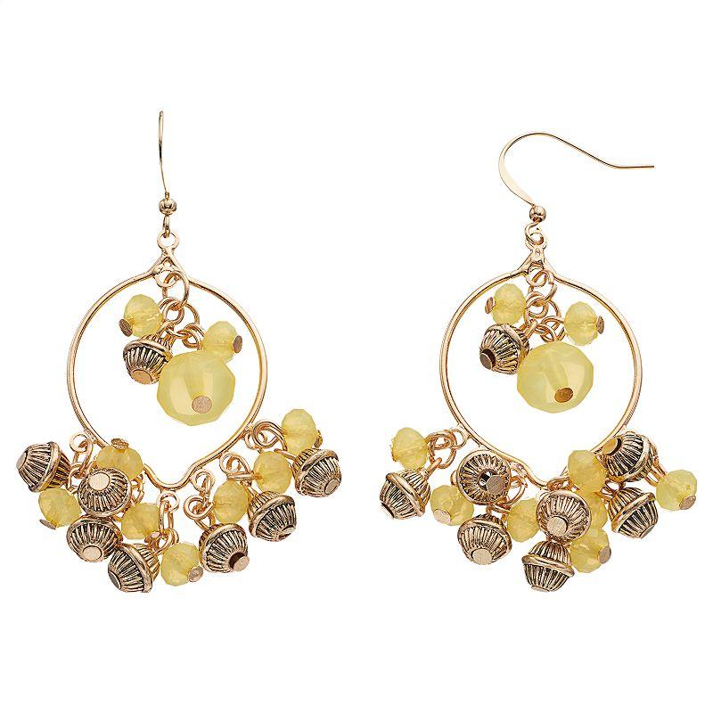 Yellow Beaded Hoop Drop Earrings