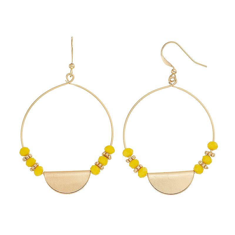 Yellow Beaded Semi-Circle Hoop Drop Earrings