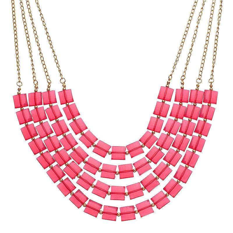 Pink Square Beaded Multi Strand Necklace