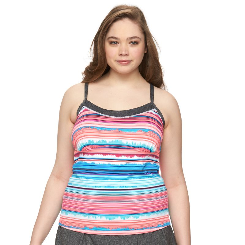 Plus Size Tek Gear® Space-Dye Racerback Tankini Top, Women's, Size: 1XL, Black