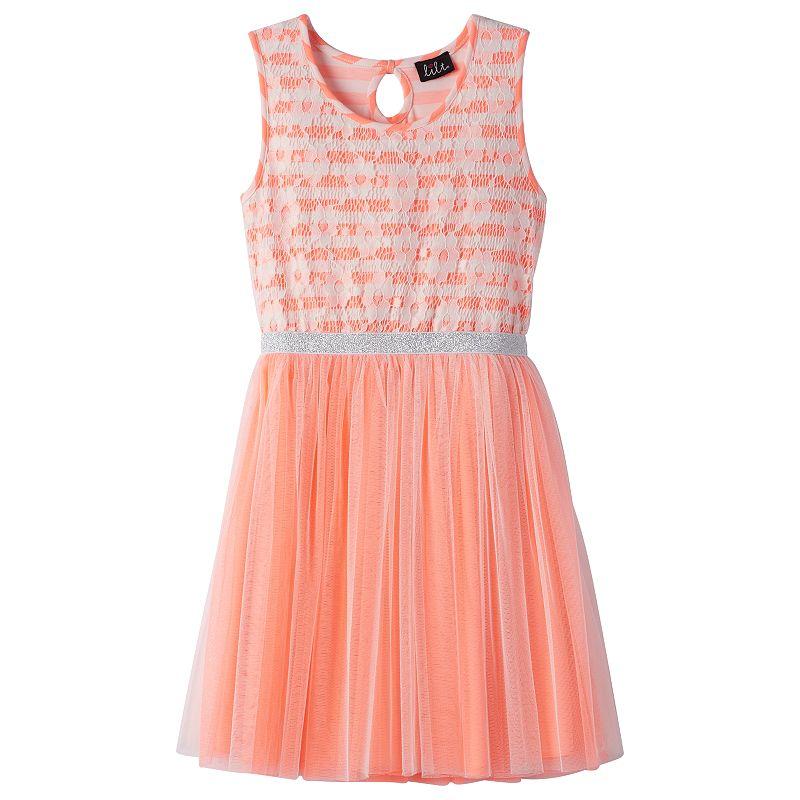 Girls 7-16 lilt Glitter Lace Mesh Dress