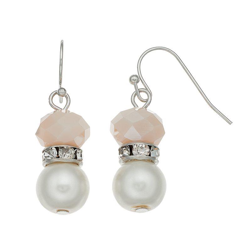 Simply Vera Vera Wang Pink Beaded Drop Earrings