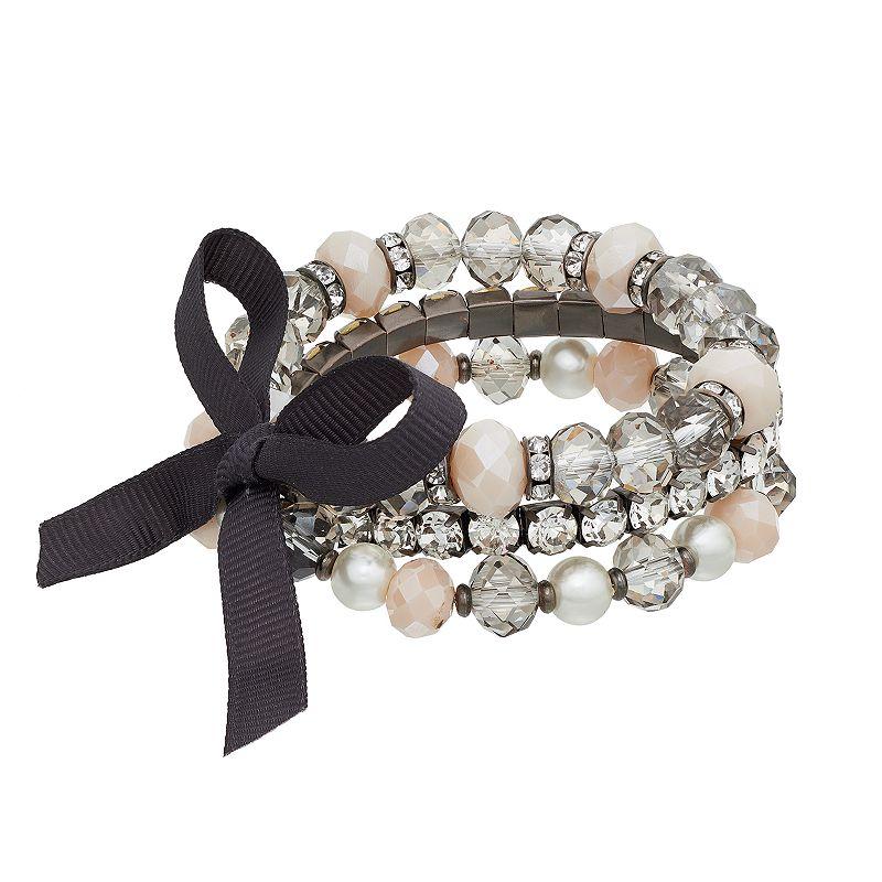 Simply Vera Vera Wang Beaded Multi Strand Bow Stretch Bracelet