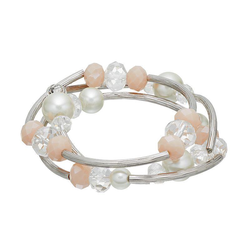 Simply Vera Vera Wang Curved Bar Beaded Stretch Bracelet Set