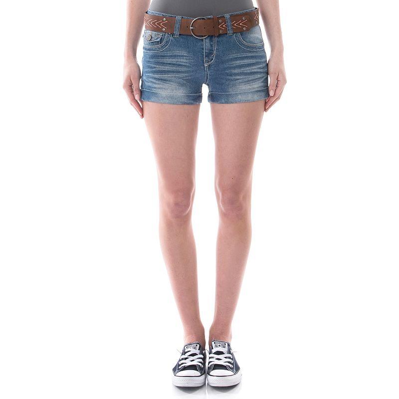 Juniors' Wallflower Whiskered Roll-Cuff Denim Shortie Shorts