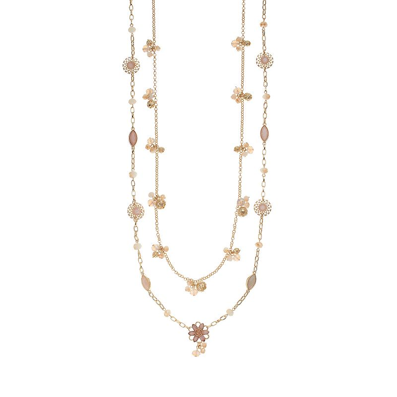 Simply Vera Vera Wang Long Cluster Flower Multi Strand Necklace