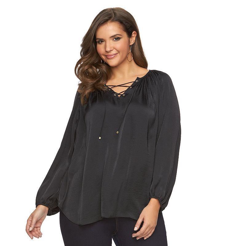 Plus Size Jennifer Lopez Bohemian Peasant Top