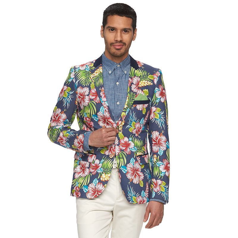 Men's WD.NY Floral Slim-Fit Suit Jacket