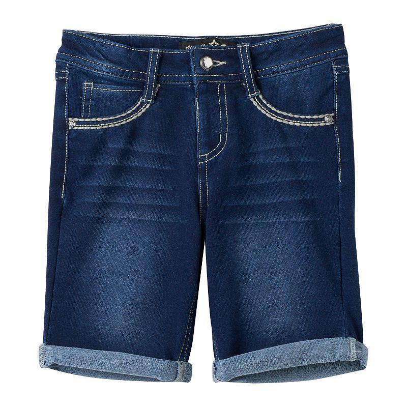 Girls 7-16 Vanilla Star Back-Flap Denim Bermuda Shorts