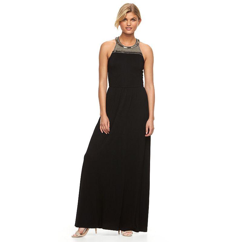 Women's Apt. 9® Solid Embellished Maxi Halter Dress