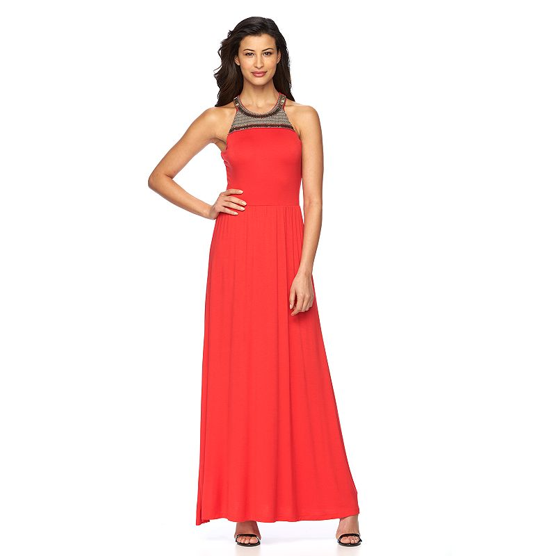 Women's Apt. 9® Solid Embellished Maxi Halter Dress