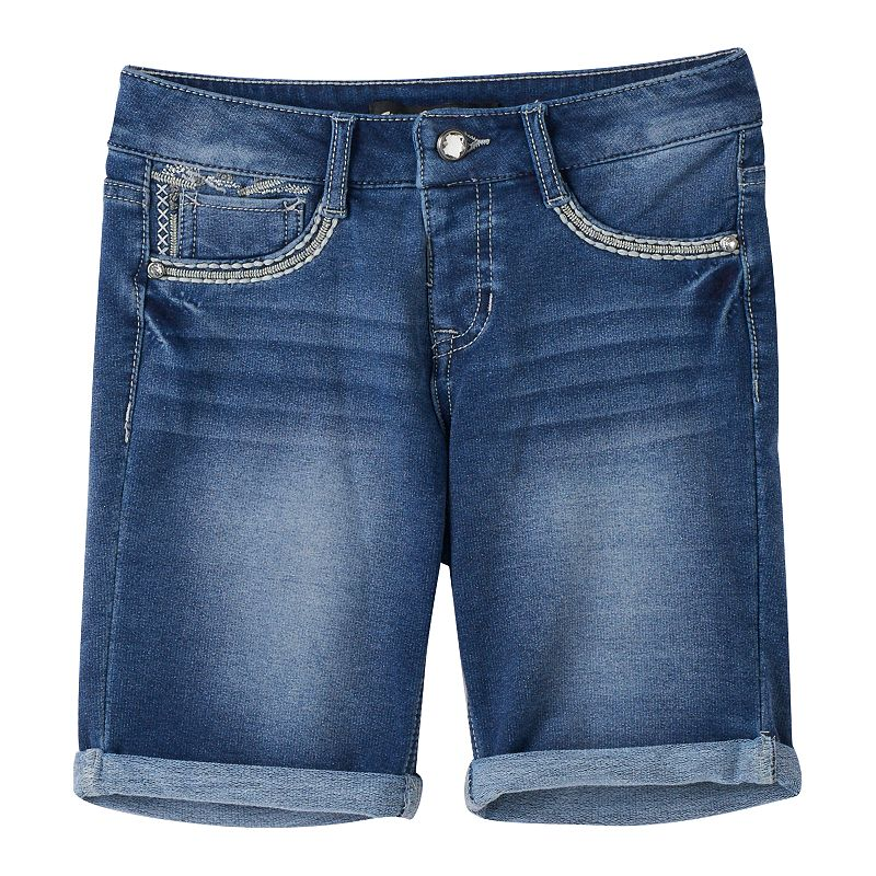 Girls 7-16 Vanilla Star Embellished Denim Bermuda Shorts