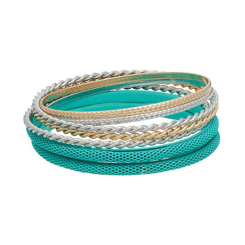 Chevron, Mesh & Twisted Bangle Bracelet Set