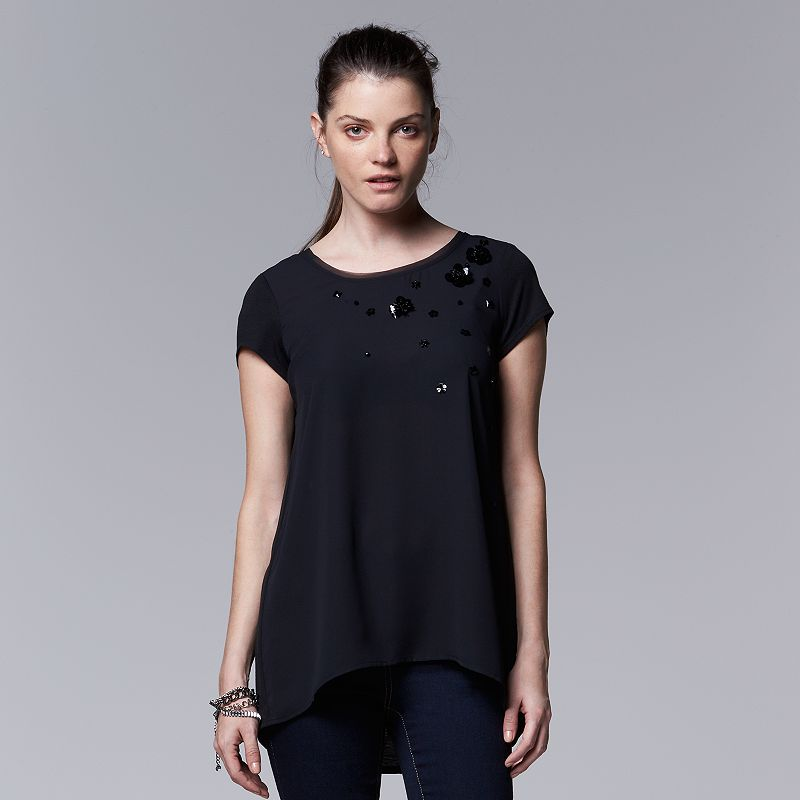 Women's Simply Vera Vera Wang Embellished Crepe-Front Top