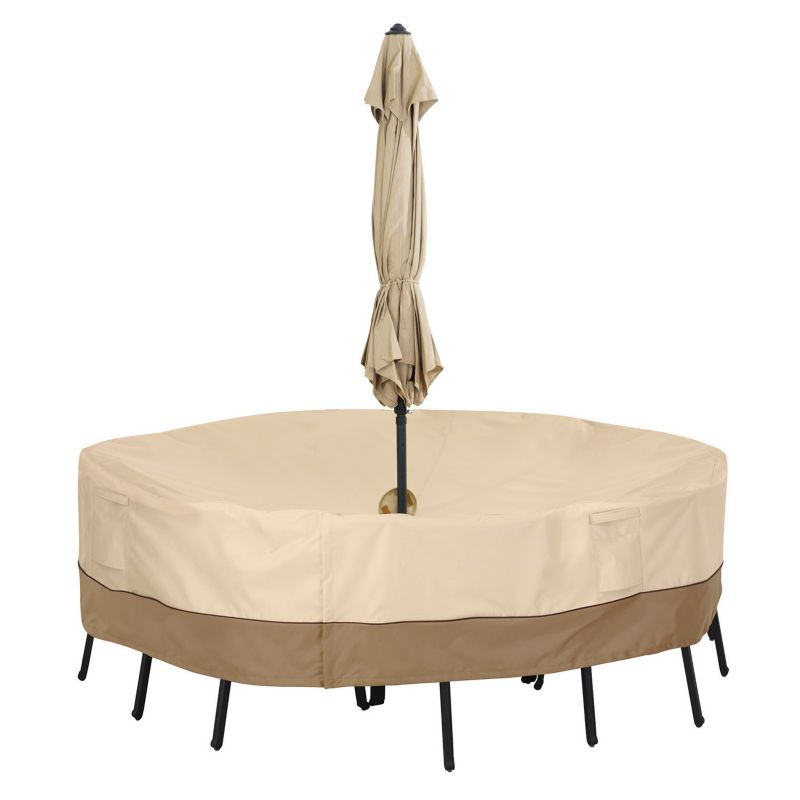 Outdoor Classic Accessories Veranda Medium Round Patio Table Cover & Umbrella Hole, Beig\/Green (Beig\/Khaki)