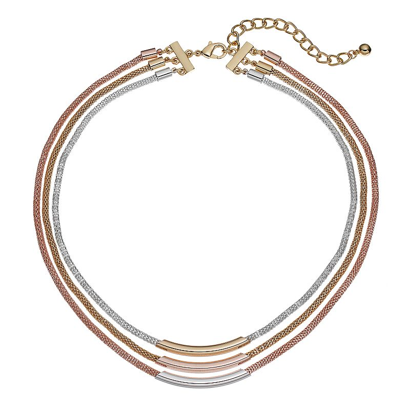 Apt. 9® Tri Tone Mesh Multi Strand Tube Necklace