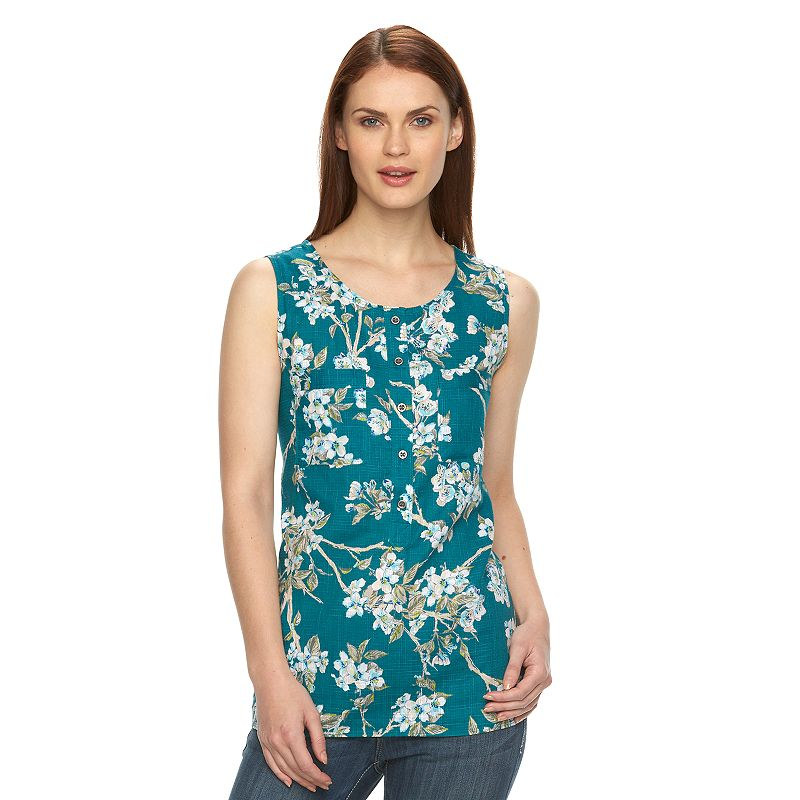 Women's Croft & Barrow® Floral Crosshatch Tank