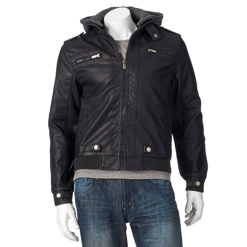 Men's XRAY Slim-Fit Faux-Leather Hooded Jacket
