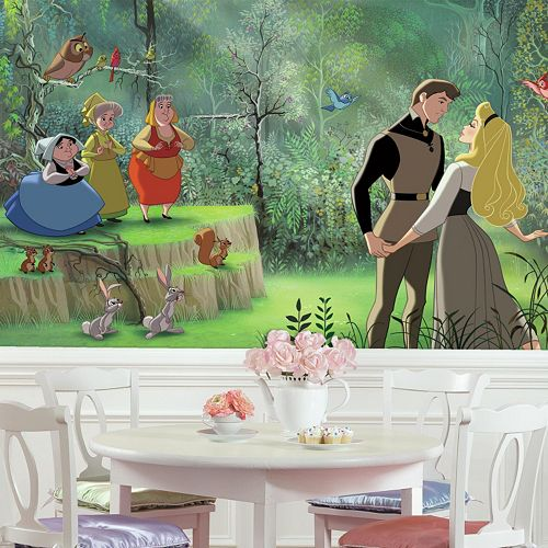 Disney princess sleeping beauty xl 7 piece mural wall decal for Disney princess ballroom wall mural