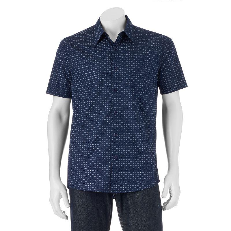 Men's Haggar Micrographic Print Button-Down Shirt