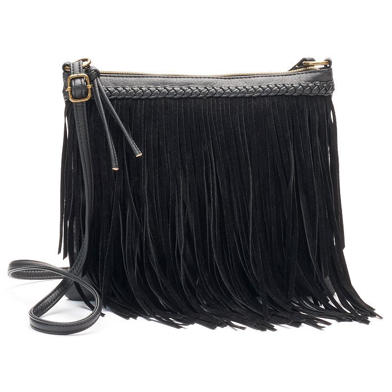Mudd® Braided Fringe Crossbody Bag