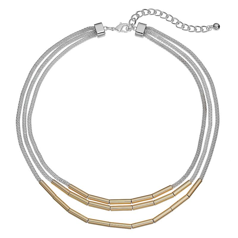 Apt. 9® Two Tone Mesh Multi Strand Tube Necklace