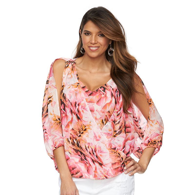 Women's Jennifer Lopez Print Cold-Shoulder Top
