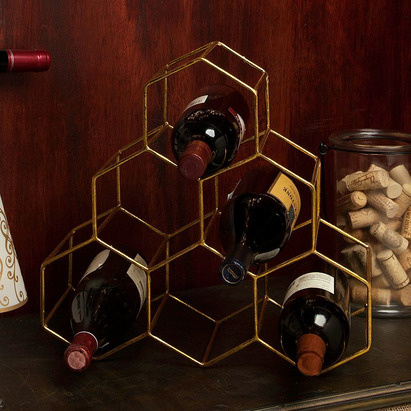 Geometric Gold Finish 6-Bottle Metal Wine Rack