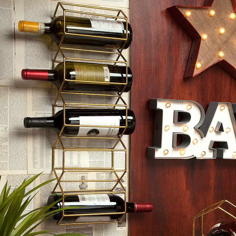 Geometric Gold Finish 5-Bottle Metal Wine Rack