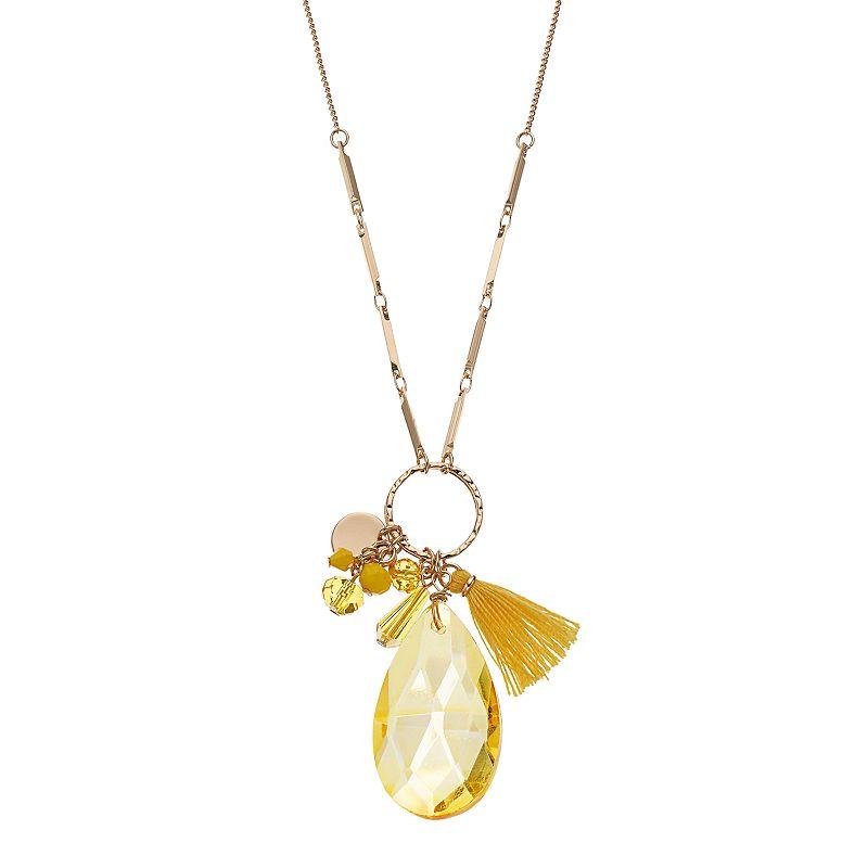 Yellow Teardrop & Tassel Cluster Y Necklace