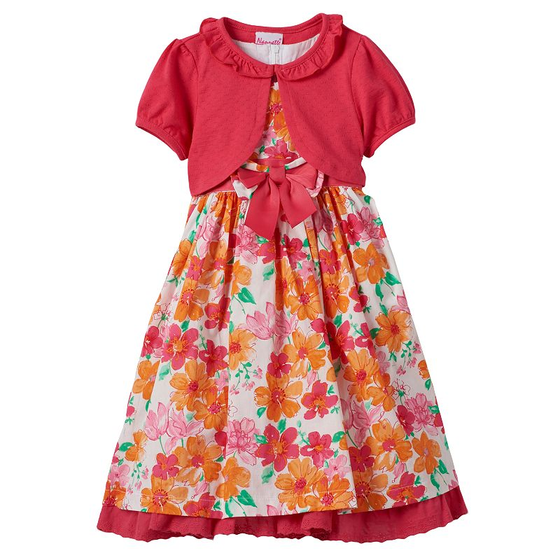 Girls 4-6x Nannette Floral Dress & Pointelle Shrug Set