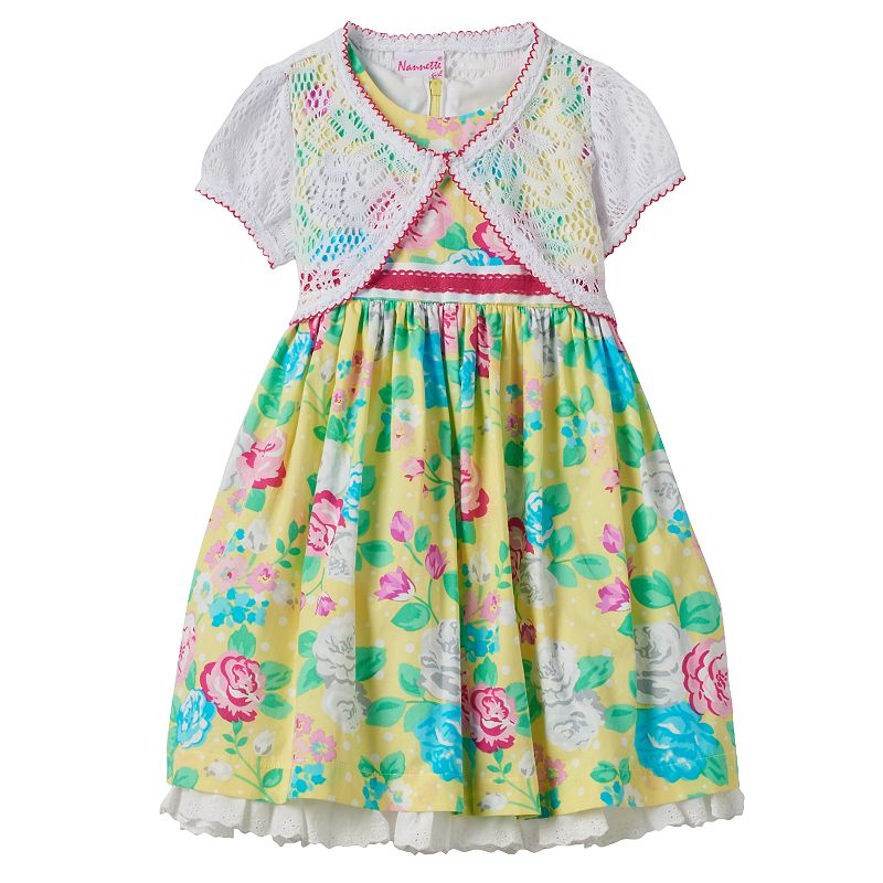 Girls 4-6x Nannette Rose Print Dress & Shrug Set