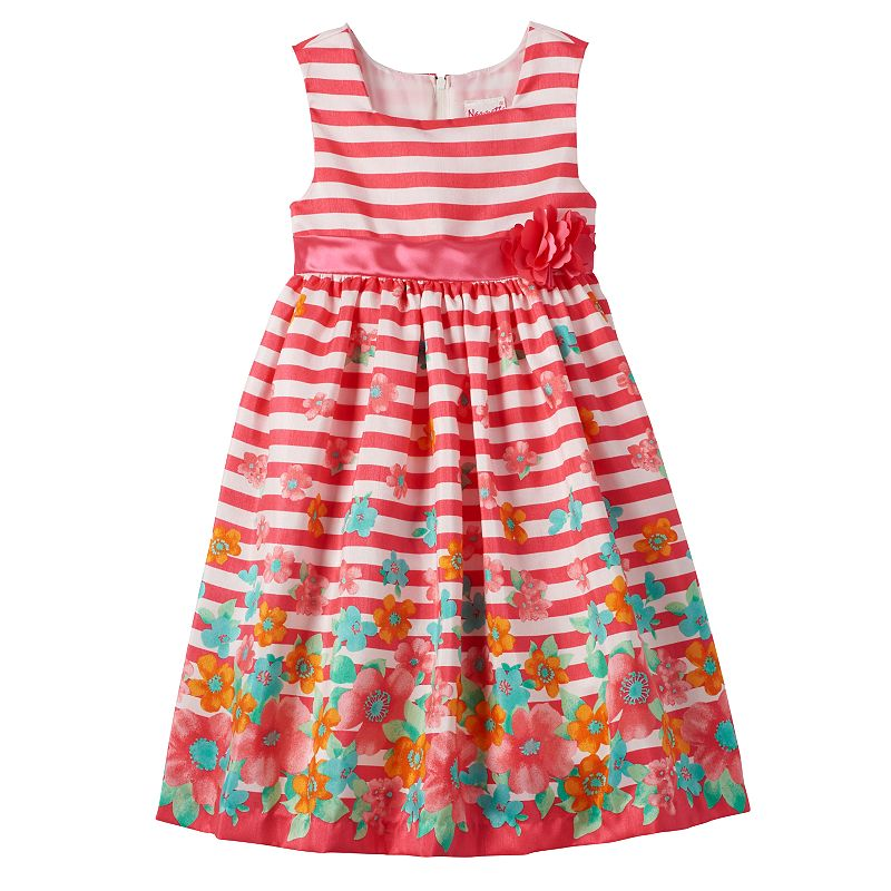 Girls 4-6x Nannette Striped Floral Dress