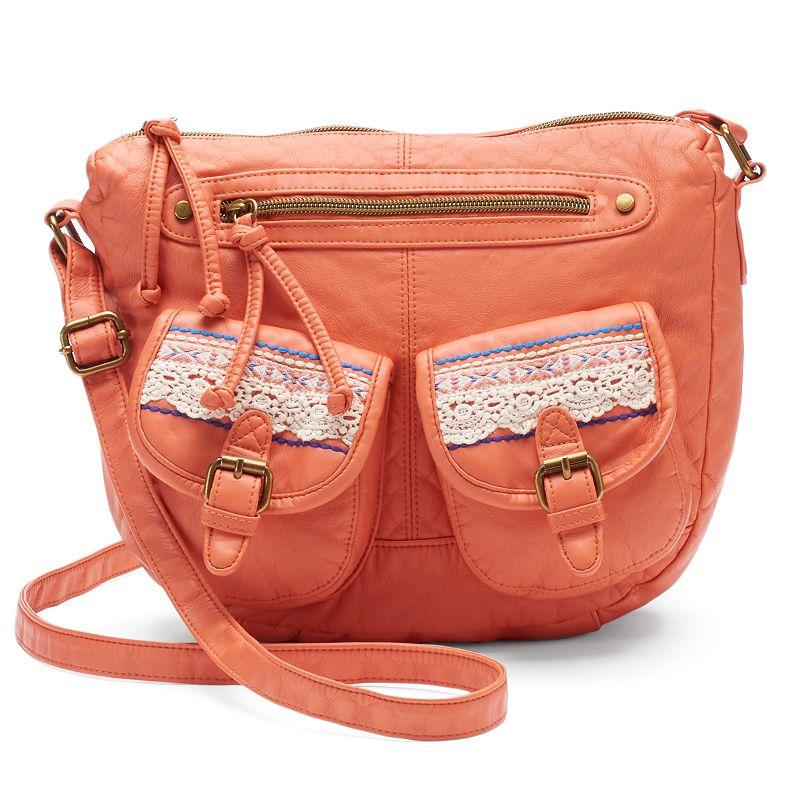 Mudd® Crocheted Double-Pocket Crossbody Bag